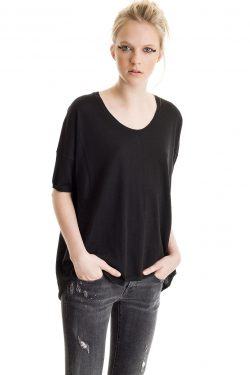 Boxy Tee, Black, 100% Fine Worsted Cashmere | Paychi Guh