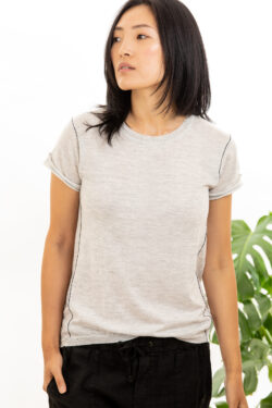 Paychi Guh | Baby Tee, Dove Grey, 100% Worsted Mongolian Cashmere