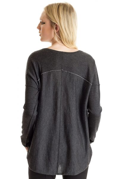 L/S Boxy Tee, Charcoal, 100% Fine Worsted Cashmere | Paychi Guh