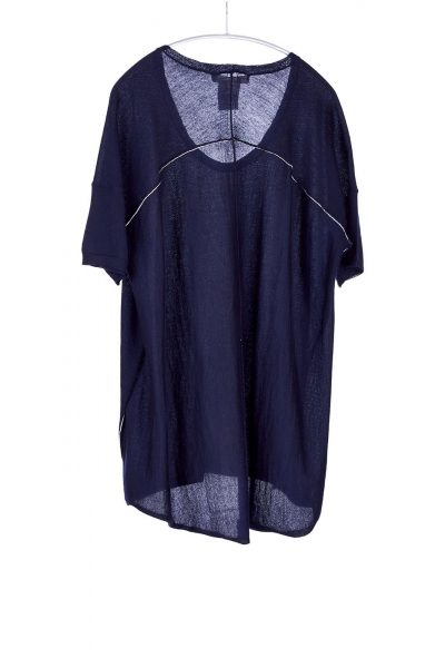 Boxy Tee, Navy, 100% Fine Worsted Cashmere   Paychi Guh