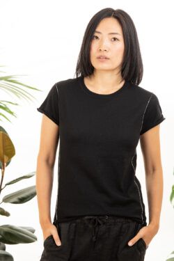 Paychi Guh | Baby Tee, Black, 100% Worsted Mongolian Cashmere
