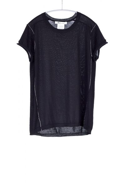S96 Baby Tee, Black, 100% Fine Worsted Mongolian Cashmere | Paychi Guh