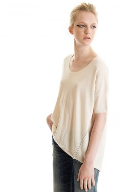 Boxy Tee, Foam, 100% Fine Worsted Cashmere | Paychi Guh