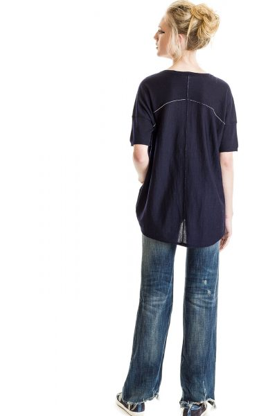 Boxy Tee, Navy, 100% Fine Worsted Cashmere | Paychi Guh
