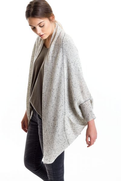 Cocoon Cardigan, Grey/Speckle, 100% Cashmere | Paychi Guh
