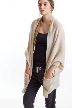 Cocoon Cardigan, Oat/Tomato, 100% Cashmere | Paychi Guh