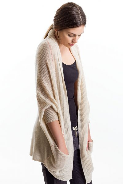Cocoon Cardigan, Oat/Tomato, 100% Cashmere   Paychi Guh