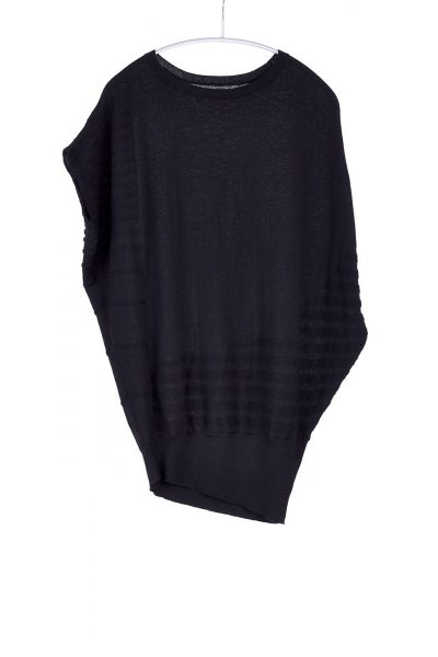 Curved Popover, Black, 100% Cashmere | Paychi Guh