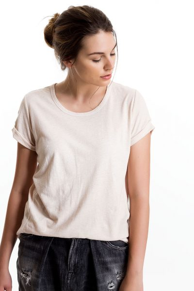 Baby Tee, Nude, 55% Linen 45% Cotton | Paychi Guh