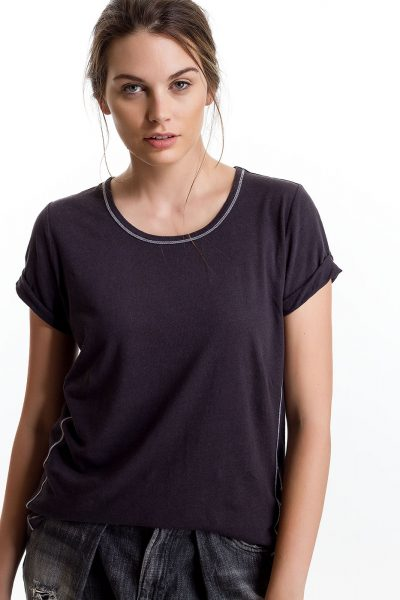Baby Tee, Slate, 55% Linen 45% Cotton | Paychi Guh