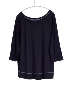 Three Quarter Sleeve Cuffed Tee, Black, 55% Linen 45% Cotton | Paychi Guh