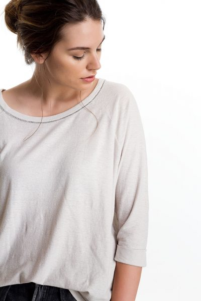 Three Quarter Sleeve Cuffed Tee, Lt Grey, 55% Linen 45% Cotton | Paychi Guh