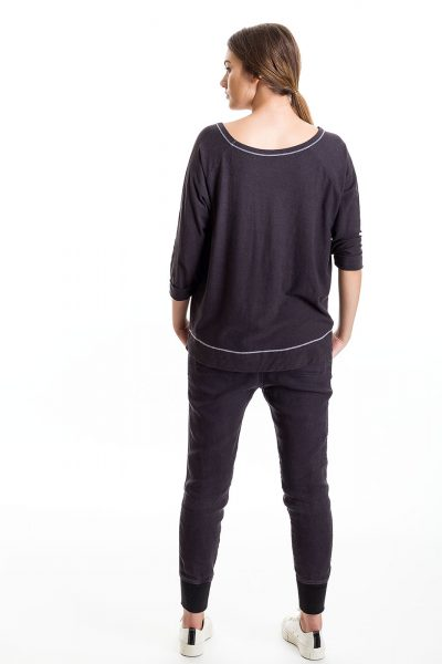 Three Quarter Sleeve Cuffed Tee, Slate, 55% Linen 45% Cotton | Paychi Guh