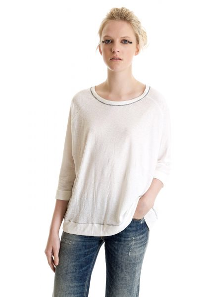 Three Quarter Sleeve Cuffed Tee, White, 55% Linen 45% Cotton | Paychi Guh