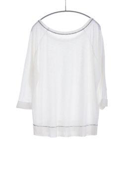 Three Quarter Sleeve Cuffed Tee, White, 55% Linen 45% Cotton | Paychi Guh