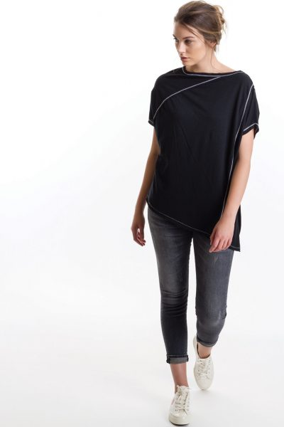 Popover Tee, Black, 55% Linen 45% Cotton | Paychi Guh
