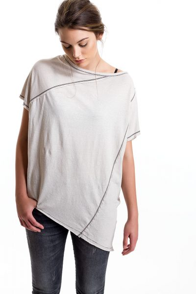 Popover Tee, Lt Grey, 55% Linen 45% Cotton | Paychi Guh