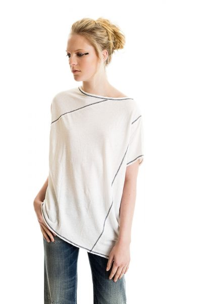 Popover Tee, White, 55% Linen 45% Cotton | Paychi Guh