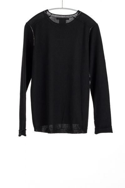 L/S Baby Tee, Black, 100% Fine Worsted Cashmere | Paychi Guh