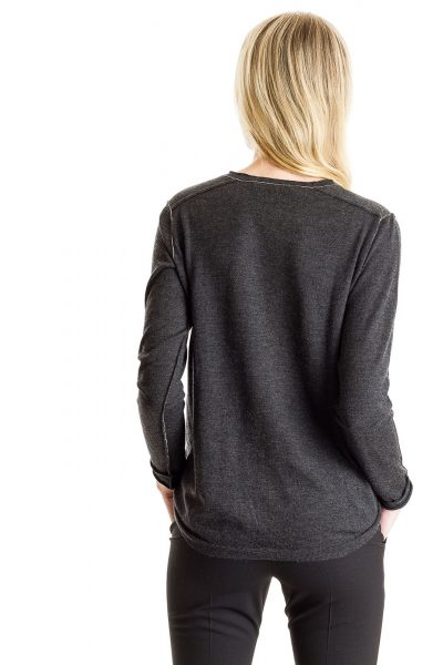 L/S Baby Tee, Charcoal, 100% Fine Worsted Cashmere | Paychi Guh