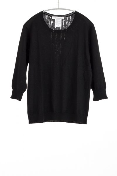 Three Quarter Sleeve Scoop, Black, 100% Fine Worsted Cashmere | Paychi Guh