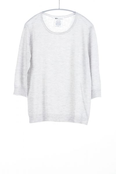 Three Quarter Sleeve Scoop, Dove Grey, 100% Fine Worsted Cashmere | Paychi Guh