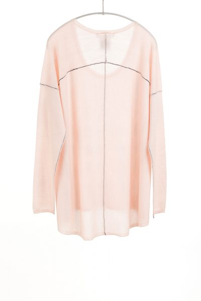 L/S Boxy Tee, Bella Pink, 100% Fine Worsted Cashmere   Paychi Guh