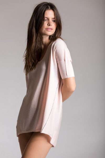 Boxy Tee, Bella Pink, 100% Fine Worsted Cashmere | Paychi Guh