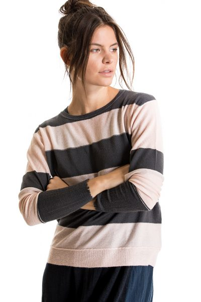 Distressed Cuff Pullover, Graphite/Bella Pink, 100% Fine Worsted Cashmere | Paychi Guh