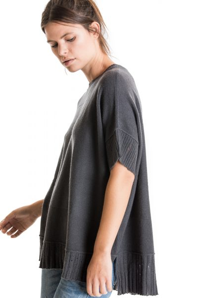 Airy Poncho, Graphite, 100% Mongolian Cashmere | Paychi Guh