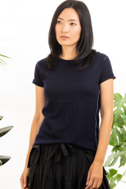 Paychi Guh | Baby Tee, Navy, 100% Worsted Mongolian Cashmere