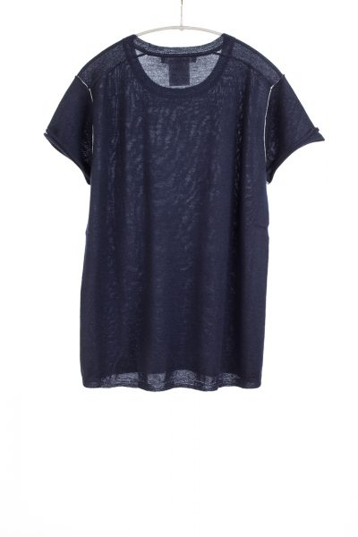 Baby Tee, Navy, 100% Fine Worsted Mongolian Cashmere | Paychi Guh