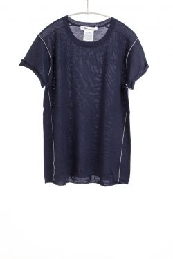 Paychi Guh | Baby Tee, Navy, 100% Fine Worsted Mongolian Cashmere