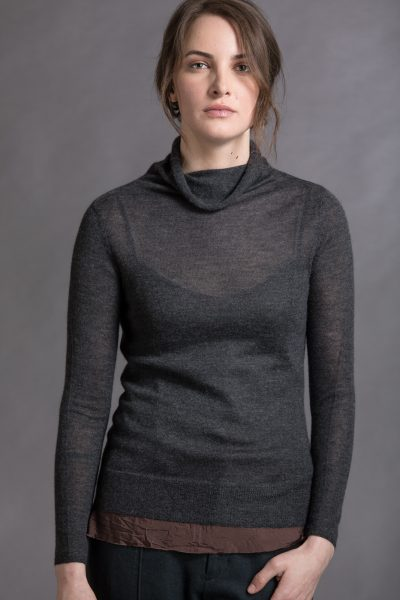 Paychi Guh | Sheer Funnel, Charcoal, 100% Worsted Mongolian Cashmere