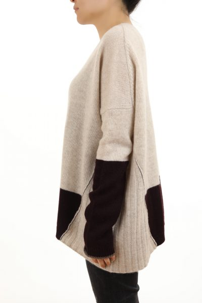 Paychi Guh | Block Crew, Oatmeal/Currant, 100% Cashmere