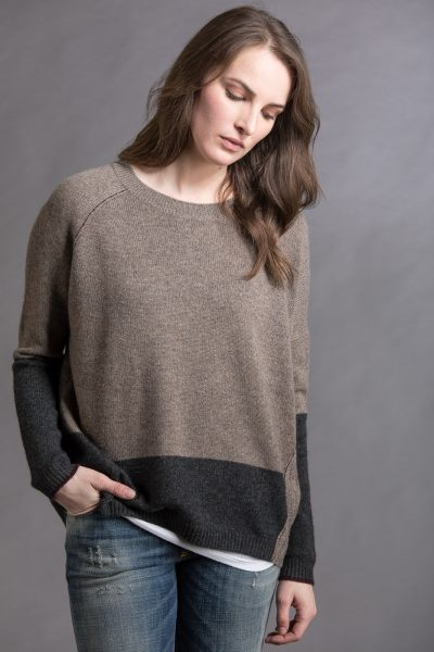 Block Crew, Walnut/Charcoal, 100% Cashmere | Paychi Guh