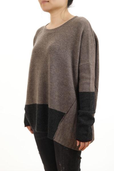 Paychi Guh | Block Crew, Walnut/Charcoal, 100% Cashmere
