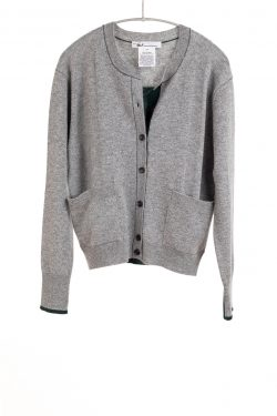 Paychi Guh | Crew Cardigan, Flannel/Forest, 100% Cashmere