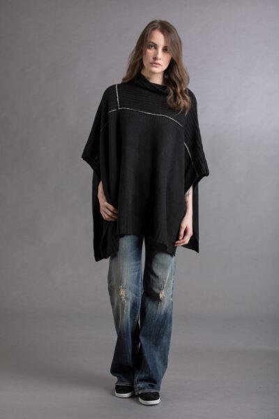 Paychi Guh | Mock Neck Poncho, Black, 100% Cashmere