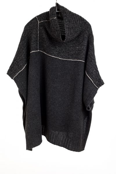 Paychi Guh | Mock Neck Poncho, Charcoal Multi, 100% Cashmere