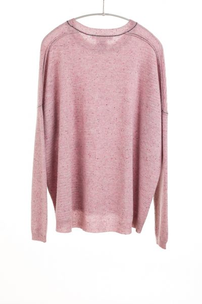 Paychi Guh | Textured Crew, Rose Speckle, 100% Cashmere