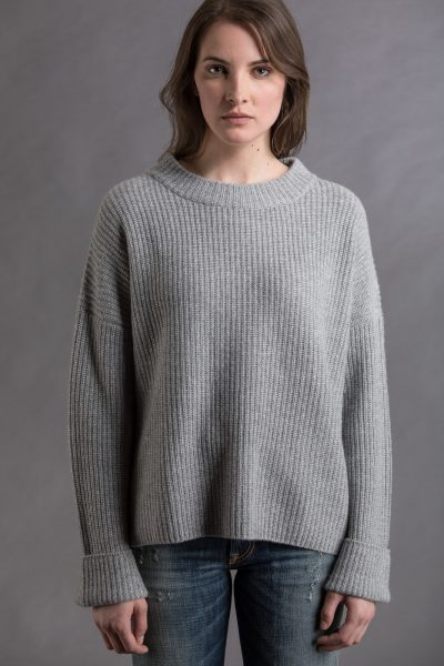 Paychi Guh | Relaxed Pullover, Flannel/Currant, 100% Cashmere