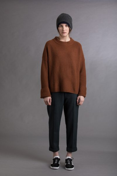 Paychi Guh | Relaxed Pullover, Vicuna/Charcoal, 100% Cashmere