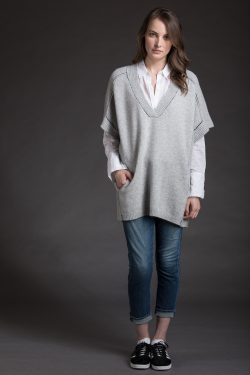 Half Sleeve Tunic, Lt H Grey, 100% Cashmere | Paychi Guh