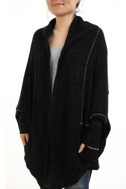 Paychi Guh | Cocoon Cardigan, Black Speckle, 100% Cashmere