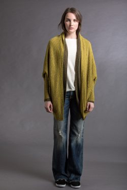 Paychi Guh | Cocoon Cardigan, Mustard Speckle, 100% Cashmere