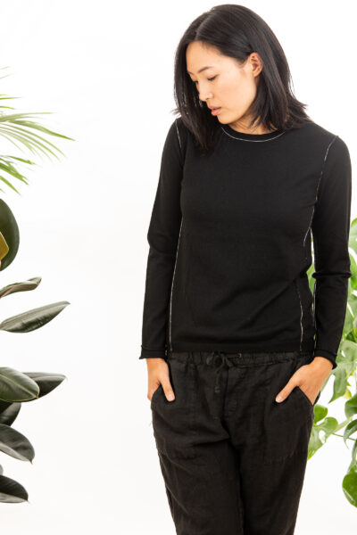 Paychi Guh | L/S Baby Tee, Black, 100% Worsted Cashmere