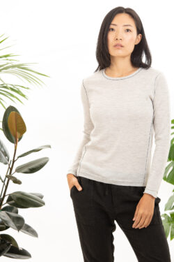 Paychi Guh   L/S Baby Tee, Dove Grey, 100% Worsted Cashmere