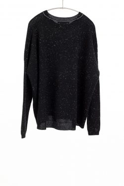 Paychi Guh | Textured Crew, Black Speckle, 100% Cashmere