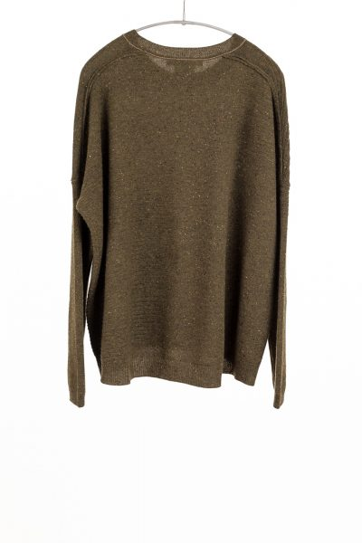 Paychi Guh | Textured Crew, Moss Speckle, 100% Cashmere